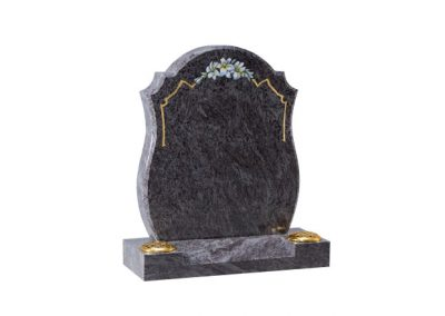Bahama Blue granite headstone with rounded sides and centre splay base