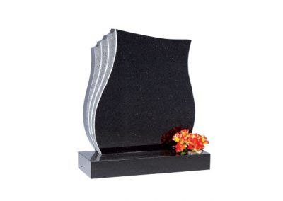 Star Galaxy granite headstone with hand carved rebate