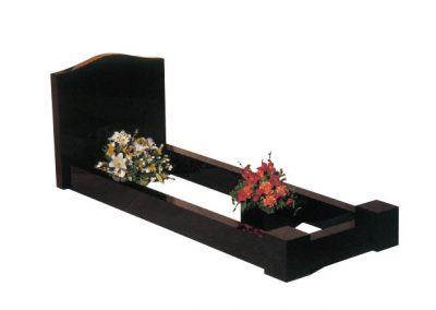 """2'6"""" high 7'0"""" x 3'0"""" overall size. Classic headstone and kerbs memorial with corner posts."""