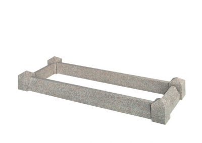 """Available in 7'0"""" x 3'0"""" overall size. Shown in Light Grey granite with peon shaped kerbs and posts."""