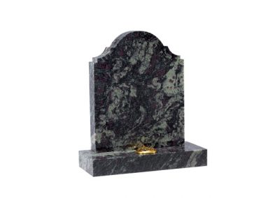 Imperial Green granite headstone with flower holder