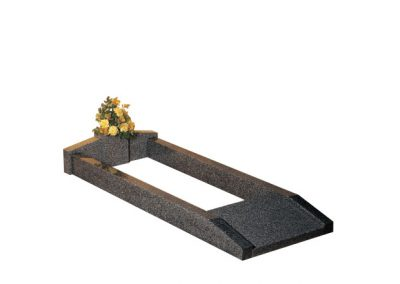 """Available in 78"""" x 30"""" overall size. Lunar Grey granite with vase at the head end and lettering tablet at the foot."""