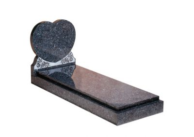 Blue Pearl granite heart memorial with engraved rose ornament