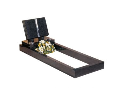 """Available in 30"""" high 78"""" x 30"""" overall size. Dark Grey granite with book memorial on top of full length kerbs."""