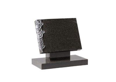 Dark grey granite book memorial with hand carved roses
