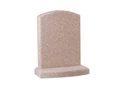 Pink granite headstone with polished moulding