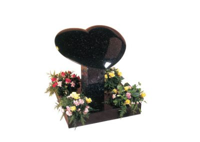 Star Galaxy granite heart headstone with rounded edges