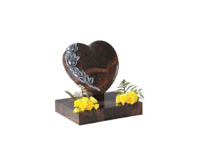 Teak granite heart headstone with hand carved roses