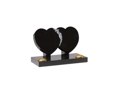 Black granite double heart headstone with hand carved lily