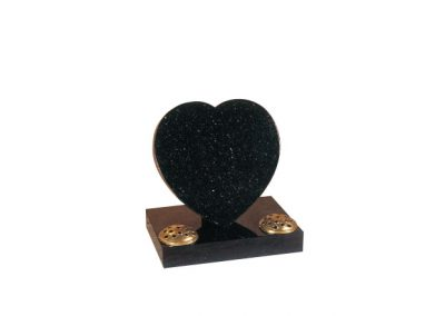Star galaxy granite heart headstone with two flower containers