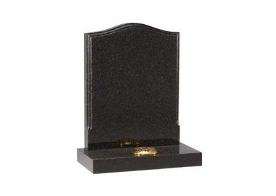 Dark Grey granite headstone with polished moulding