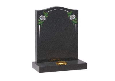 Dark Grey granite lawn memorial with white rose and elegant pin line