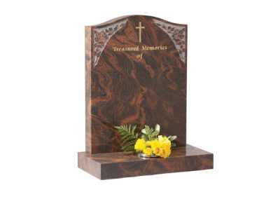 Twilight Red granite lawn memorial with etched roses