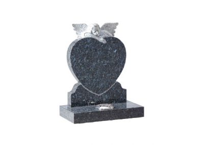 Blue Pearl granite headstone with hand carved angel on heart