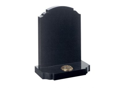 Black granite headstone with stem holder