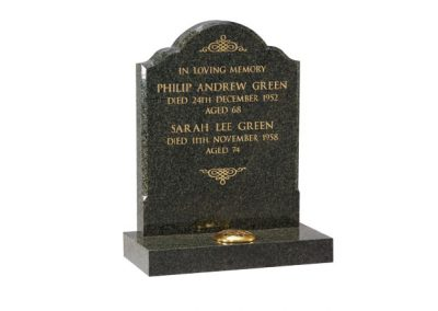 Fir Green granite lawn memorial with chamfered sides and gilded inscription
