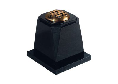 Black granite urn with flower container