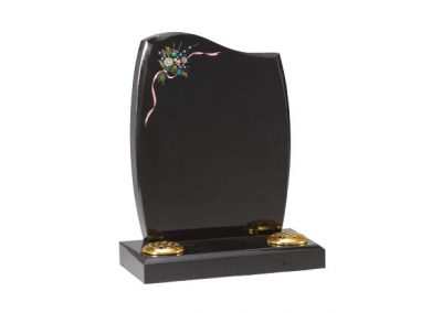 Black granite headstone with painted flower design