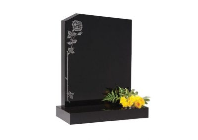 Black granite lawn memorial with peon top