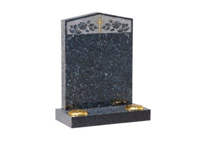 Blue Pearl granite lawn memorial with peon top with etched roses and cross design