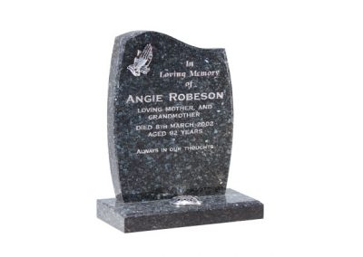 Blue pearl granite headstone with engraved praying hands