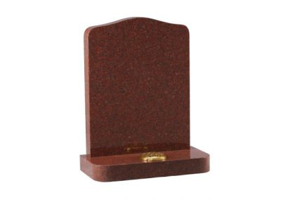 Ruby Red granite lawn memorial with rounded shoulders and matching corners on base