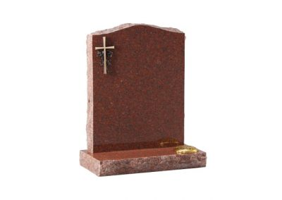 Ruby red headstone with cross design