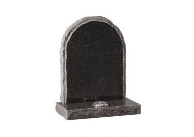 Dark Grey granite headstone with pitched side and matching margin
