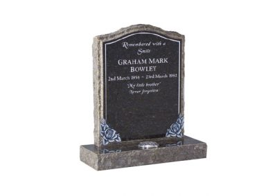 Blue Pearl granite headstone with hand carved roses