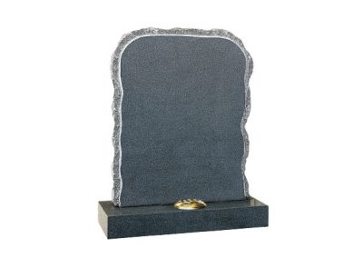 Dark Grey granite headstone with rustic shape and pitched sides