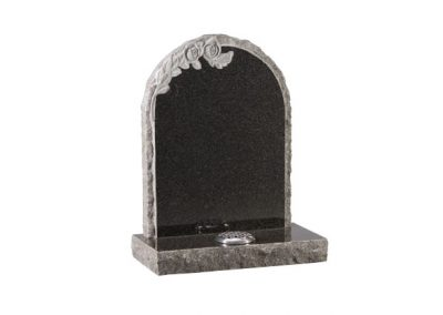 Dark Grey granite headstone with carved roses and pitched edges.
