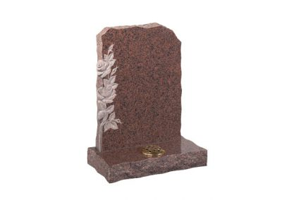 Balmoral Red granite headstone with carved roses and flower container