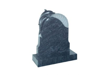 Bahama Blue granite headstone with carved dolphin figure