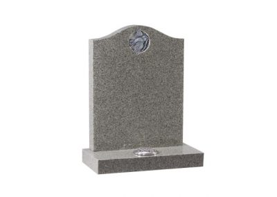 "Headstone available in 27"" x 21″ x 3″ and 3"" x 24"" x 12″ Base. Karin light Grey granite with carved and highlighted dove."