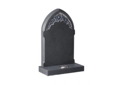 Dark Grey granite memorial with deep carved and highlighted roses.