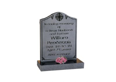 Black granite headstone with polished inscription and engraved background.