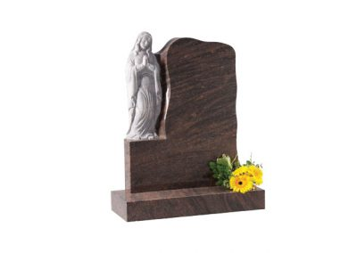 Mossfords red granite headstone with carved 'Our Lady' figure