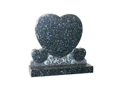 Blue Pearl granite headstone with triple heart and hand carved Roses design
