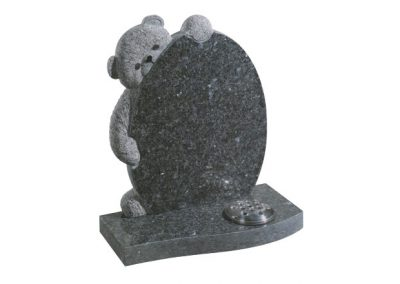 Blue pearl granite headstone with hand carved teddy bear