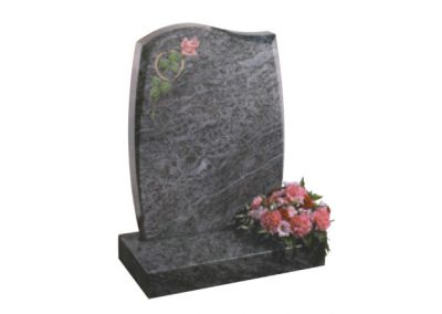 Bahama Blue granite headstone with etched and painted rose and gilded heart