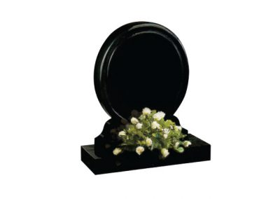 Black granite round memorial with rounded chamfers