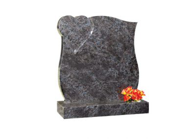 Bahama Blue granite lawn memorial with curved sides and polished heart in top corner
