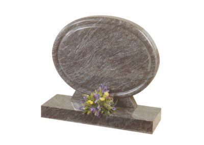 Bahama Blue granite headstone in 'clumber' shape with rounded chamfers