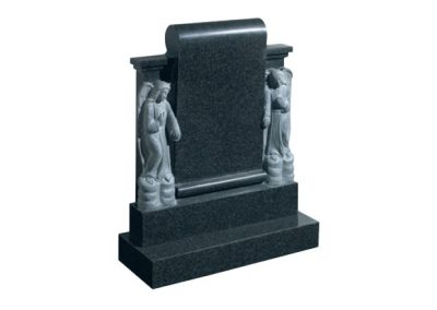 Dark grey granite headstone with two carved angels