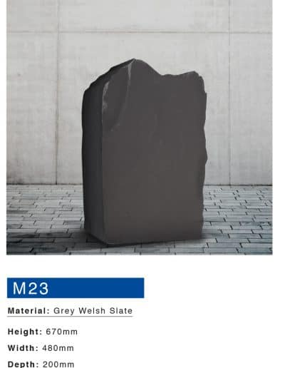 Mossfords grey welsh slate memorial boulder