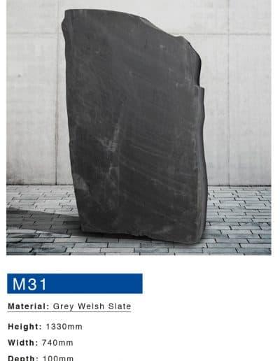 Grey Welsh Slate Boulder Memorial