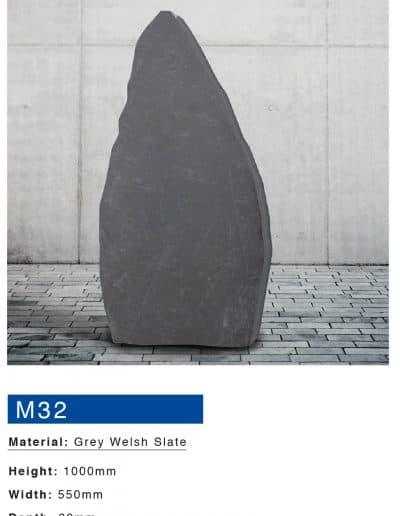 Grey welsh slate boulder memorial by mossfords masons