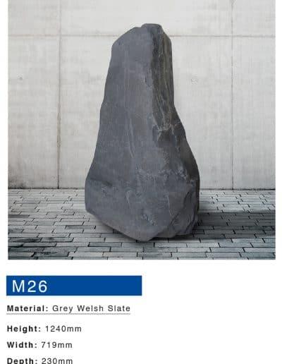 Grey Welsh Slate Boulder by Mossfords