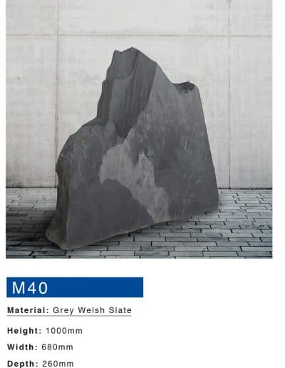 Grey Welsh Slate Boulder Memorial by Mossfords