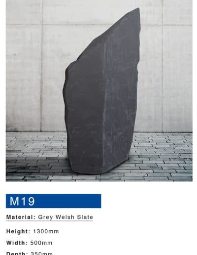 Grey welsh slate memorial boulder by mossfords